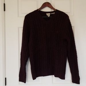 Timberland wool cable knit v neck sweater